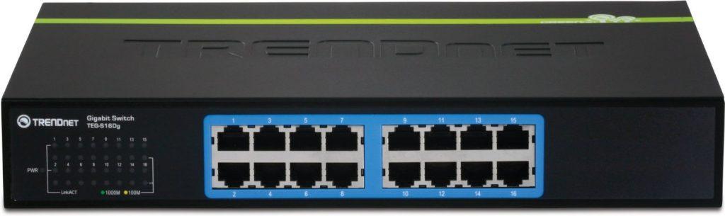 TRENDnet 16-Port Unmanaged Gigabit GREENnet Desktop Metal Housing Switch, TEG-S16DG